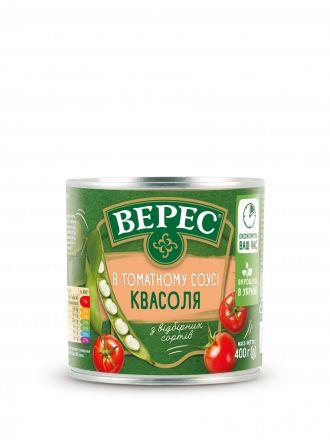 Квасоля ВЕРЕС в томатному соусі ж/б 0,400 кг, пак