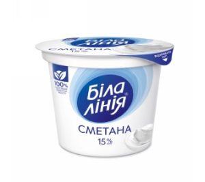 Сметана БІЛА ЛІНІЯ 15% стакан 0,200 кг, пак