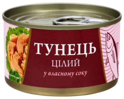 Тунець Fish Line цілий у власному соку 0,185 кг, пак