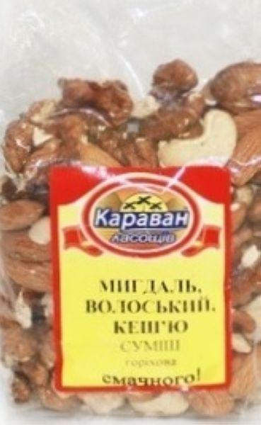 Суміш мигдаль, грецький горіх, кеш`ю 0,180 кг, пак
