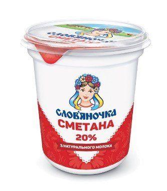 Сметана СЛОВ'ЯНОЧКА 20% стакан 0.345 кг, пак