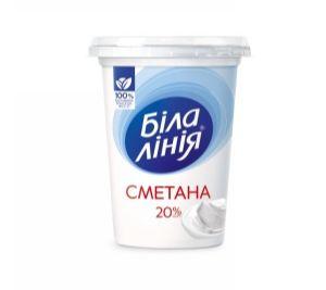 Сметана БІЛА ЛІНІЯ 20% стакан 0.350 кг, пак