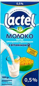 Молоко LACTEL з вітаміном D ультрапастеризоване 0,5% 1.000 кг, пак