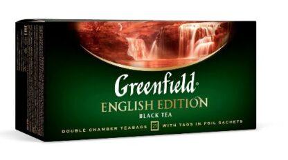 Чай Greenfield чорний English Edition цейлонський байховий дрібний 25шт*2г 0.050 кг, пак