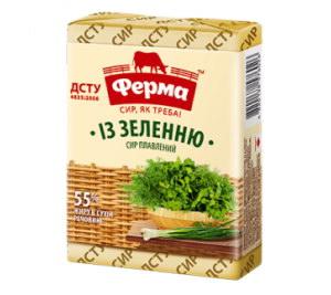 Сир плавлений ФЕРМА із зеленню 55% 0.090 кг, пак