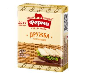 Сир плавлений ФЕРМА ДРУЖБА 55% 0.090 кг, пак