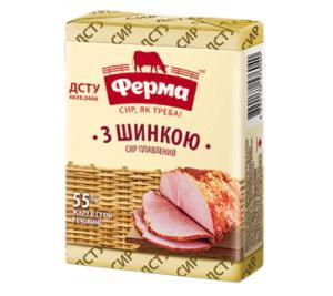 Сир плавлений ФЕРМА з шинкою 55% 0.090 кг, пак
