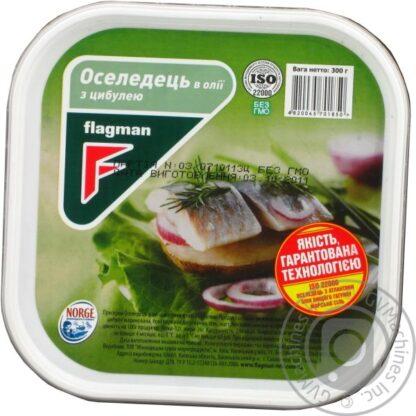 Оселедець Flagman філе-шматочки в олії з цибулею 0.300 кг, пак