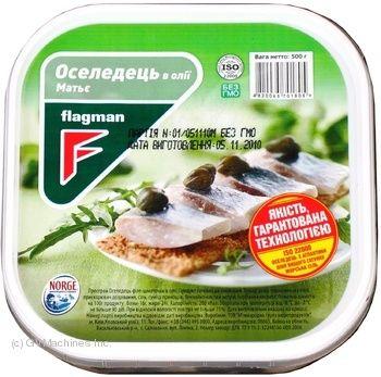 Оселедець Flagman філе-шматочки в олії МАТЬЄ 0.300 кг, пак