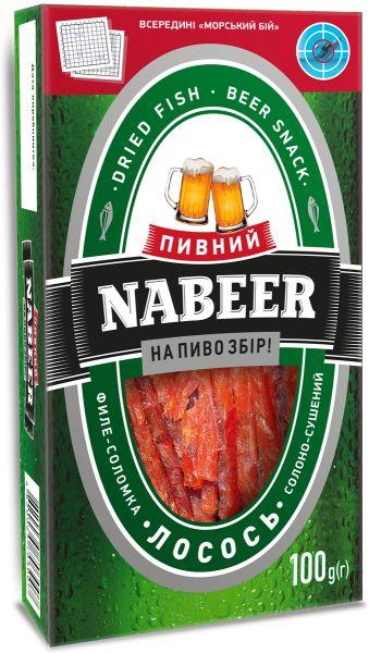 Лосось NABEER філе-соломка солоно-сушений 0.100 кг, пак