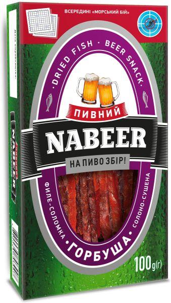 Горбуша NABEER філе-соломка солоно-сушена 0.100 кг, пак