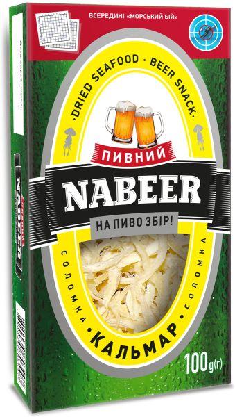 Кальмар NABEER філе-соломка солоно-сушений 0.100 кг, пак
