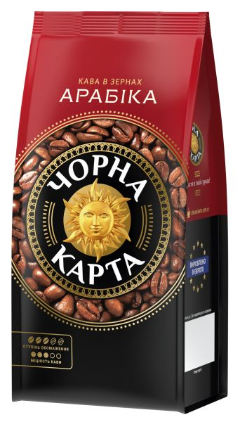 Кава ЧОРНА КАРТА в зернах Арабіка 0.250 кг, пак