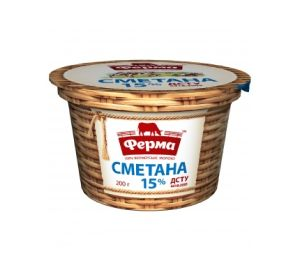 Сметана ФЕРМА 15% стакан 0.200 кг, пак