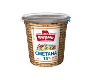 Сметана ФЕРМА 15% стакан 0.350 кг, пак