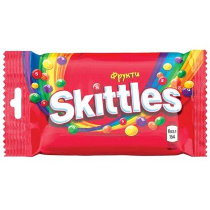 Драже Skittles Fruits жувальні з фрукт.соком в хрусткій цукр.оболонці 0.038 кг, пак