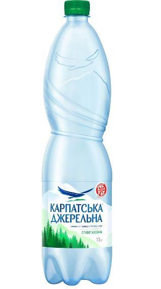 Вода мінеральна Карпатська джерельна слабогазована ПЕТ 1.500 л., пак