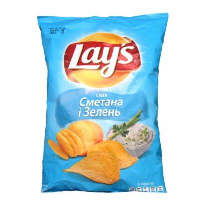 Чипси Lay's зі смаком сметани та зелені 0.133 кг, пак