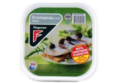 Оселедець Flagman філе-шматочки в олії МАТЬЄ 0.500 кг, пак