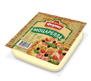 Сир м'який чеддеризований ФЕРМА МОЦАРЕЛЛА 45% лоток 0.200 кг, пак