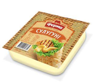Сир м'який чеддеризований ФЕРМА СУЛУГУНІ 45% лоток 0.200 кг, пак