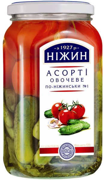 Асорті овочеве НІЖИН по-ніжинські №1 з томатів та огірків с/б 0.920 кг, пак