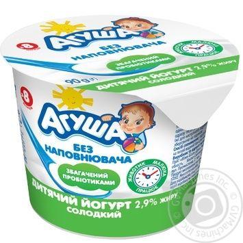 Йогурт АГУША дитячий солодкий без наповнювача 2,9% жиру стакан 0.090 кг, пак