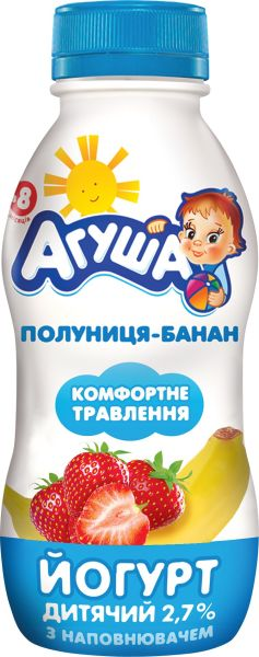 Йогурт АГУША дитячий з наповнювачем полуниця-банан 2,7% жиру ПЕТ 0.200 кг, пак