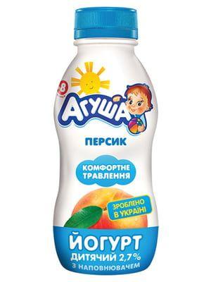 Йогурт АГУША дитячий з наповнювачем персик 2,7% жиру ПЕТ 0.200 кг, пак