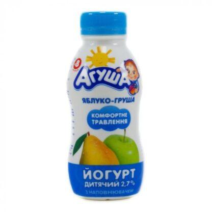 Йогурт АГУША дитячий з наповнювачем яблуко-груша 2,7% жиру ПЕТ 0.200 кг, пак