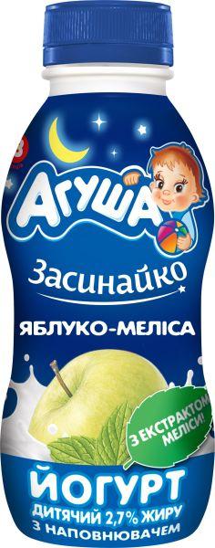 Йогурт АГУША дитячий з наповнювачем яблуко-меліса 2,7% жиру ПЕТ 0.200 кг, пак