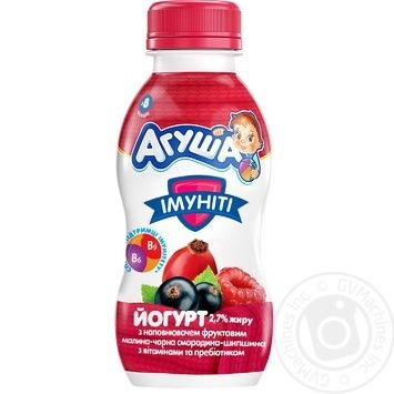 Йогурт АГУША дитячий з наповнювачем малина-чорн. смород.-шипш. 2,7% ПЕТ 0.200 кг, пак