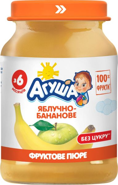 Пюре фруктове АГУША яблучно-бананове 0.190 кг, пак
