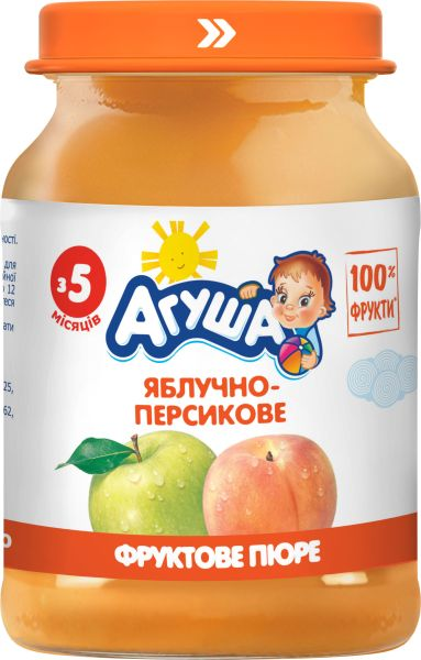 Пюре фруктове АГУША яблучно-персикове 0.190 кг, пак
