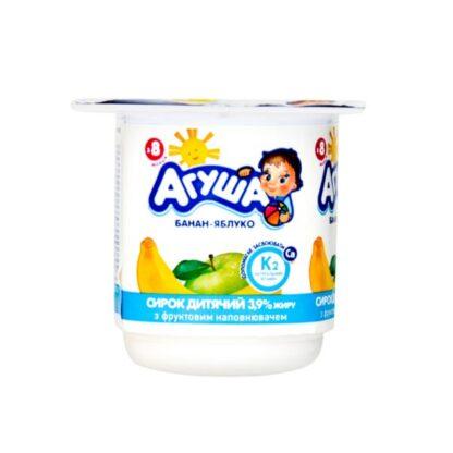Сирок дитячий АГУША з наповнювачем банан-яблуко 3,9% жиру стакан 0.100 кг, пак