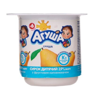 Сирок дитячий АГУША з наповнювачем груша 3,9% жиру стакан 0.100 кг, пак