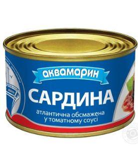 Сардина АКВАМАРИН атлантична обсмажена у томатному соусі 0.230 кг, пак