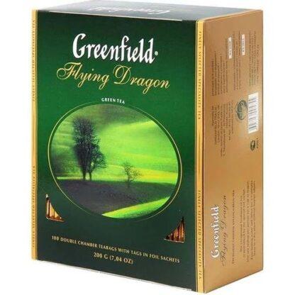 Чай Greenfield зелений Flying Dragon 100шт*2г 0.200 кг, пак