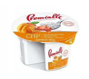 Сир зернистий Premialle абрикос-мед 7% стакан 0.150 кг, пак
