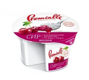 Сир зернистий Premialle вишня 7% стакан 0.150 кг, пак
