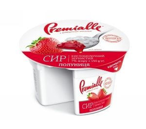 Сир зернистий Premialle полуниця 7% стакан 0.150 кг, пак