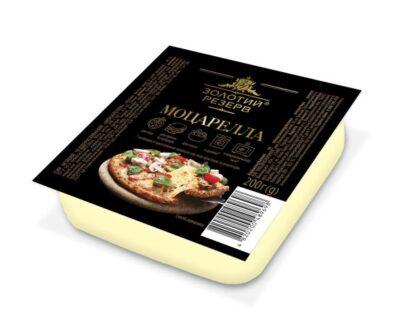 Сир м'який чеддеризований ЗОЛОТИЙ РЕЗЕРВ МОЦАРЕЛЛА 45% лоток 0.200 кг, пак