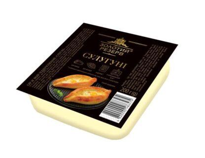 Сир м'який чеддеризований ЗОЛОТИЙ РЕЗЕРВ СУЛУГУНІ 45% лоток 0.200 кг, пак