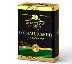 Сир плавлений ЗОЛОТИЙ РЕЗЕРВ Голландський 45% у фользі 0.090 кг, пак