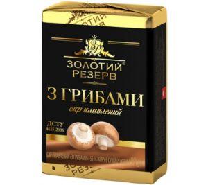 Сир плавлений ЗОЛОТИЙ РЕЗЕРВ з грибами 55% у фользі 0.090 кг, пак