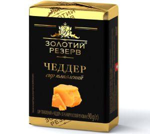 Сир плавлений ЗОЛОТИЙ РЕЗЕРВ Чеддер 55% у фользі 0.090 кг, пак